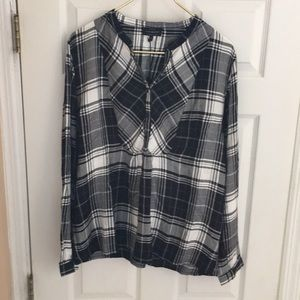 NWT Lucky Brand black white plaid top XL tunic new